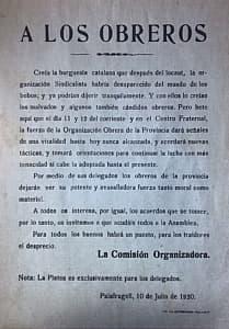 Circular A los Obreros 10/07/1920 Palafrugell. Font: Centre de Documentació Ramír Medir.Museu del Suro
